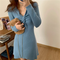 Dress Spring 2021 White, blue, black Average size Short skirt singleton  Long sleeves commute V-neck High waist Solid color Socket A-line skirt routine 18-24 years old Korean version 71% (inclusive) - 80% (inclusive) other other