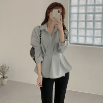 shirt blue S,M,L,XL Spring 2021 other 31% (inclusive) - 50% (inclusive) Long sleeves commute Regular Polo collar routine Solid color 18-24 years old Korean version Lotus leaf edge