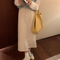 skirt Spring 2021 Average size Sky blue, off white, black Mid length dress commute High waist A-line skirt Solid color Type A 18-24 years old 71% (inclusive) - 80% (inclusive) Denim cotton Korean version