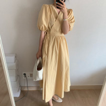 Dress Summer 2021 Yellow, mint green Average size Mid length dress singleton  Short sleeve commute V-neck High waist Solid color Big swing puff sleeve 18-24 years old Type A Korean version Frenulum 71% (inclusive) - 80% (inclusive) cotton