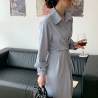 Dress Spring 2021 wathet Average size Mid length dress Long sleeves commute Polo collar High waist Solid color Single breasted routine 18-24 years old Korean version Bandage 71% (inclusive) - 80% (inclusive)