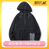 Jacket Youth fashion Black, white XL,L,M,XXL,XXXL,XXXXL thin easy daily spring Long sleeves Wear out stand collar Hip hop teenagers routine 2020 Straight hem No iron treatment raglan sleeve Solid color cotton More than two bags) Three dimensional bag