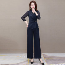 Fashion suit Summer 2020 M [suitable for 90-105 kg] l [suitable for 106-115 kg] XL [suitable for 116-125 kg] 2XL [suitable for 126-135 kg] 3XL [suitable for 136-145 kg] 4XL [suitable for 146-155 kg] Navy [two piece set] black [two piece set] Over 35 years old Comedo 020L79Al Other polyester 95% 5%