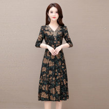 Dress Spring 2020 Yellow flower Mid length dress singleton  Long sleeves commute V-neck High waist Decor Socket A-line skirt routine Others 35-39 years old Comedo Korean version printing More than 95% polyester fiber Polyester 95.00% others 5.00% Pure e-commerce (online only)