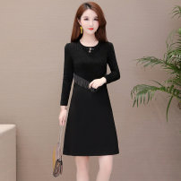 Dress Autumn of 2019 M L XL 2XL 3XL 4XL 5XL Middle-skirt singleton  Long sleeves commute Crew neck High waist Solid color Socket A-line skirt routine Others 35-39 years old Type A Comedo Korean version zipper 91% (inclusive) - 95% (inclusive) knitting polyester fiber Pure e-commerce (online only)