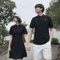 T-shirt Black men's black women's shorts S M L XL XXL XXXL Summer of 2019 Short sleeve Polo collar easy Regular routine commute polyester fiber 96% and above 18-24 years old Korean version love Pleurotus ostreatus Embroider love Polyester 100% Pure e-commerce (online only)
