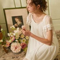 Nightdress Other / other White, light blue 155(S),160(M),165(L) Sweet Short sleeve pajamas Middle-skirt summer Solid color youth Crew neck nylon lace 81% (inclusive) - 95% (inclusive) Mesh fabric S-20618 200g and below