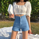 Jeans Autumn 2020 Blue black S M L shorts High waist Straight pants routine 18-24 years old Wash zipper button multiple pockets Cotton denim light colour Cattle N63 Shi Xian 96% and above Polyester 100% Pure e-commerce (online only)