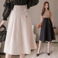 skirt Spring 2021 S,M,L,XL,2XL Black, apricot Mid length dress commute High waist A-line skirt Solid color Type A 18-24 years old Y 91% (inclusive) - 95% (inclusive) other polyester fiber Button Korean version