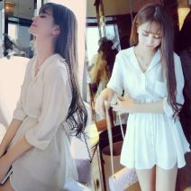 Dress Spring 2020 White three piece set black three piece set S M L XL Short skirt Three piece set three quarter sleeve commute V-neck High waist Solid color Single breasted Princess Dress routine Others 18-24 years old Type A Han Telu Korean version Button More than 95% Chiffon other Other 100.0%