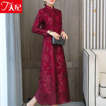 Dress Spring 2021 gules M L XL 2XL 3XL 4XL longuette singleton  Long sleeves commute stand collar middle-waisted Decor A-line skirt routine Others 40-49 years old Type A Telege  Korean version TJE253NRJ9333 More than 95% Lace other Other 100% Pure e-commerce (online only)