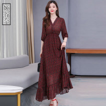 Women's large Spring 2020 Pink Black apricot S M L XL 2XL 3XL 4XL Dress singleton  commute easy moderate Socket elbow sleeve Broken flowers Korean version V-neck Three dimensional cutting routine Yagunai 35-39 years old longuette Other 100% Pure e-commerce (online only)