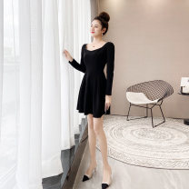 Dress Autumn 2020 black S M L XL Short skirt singleton  Long sleeves commute square neck High waist Solid color Socket Ruffle Skirt puff sleeve Others 25-29 years old Type A A concubine Korean version Ruffle pleated chain pleated zipper dovetail YF2098 More than 95% other other Other 100%