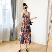 Dress Summer 2021 Picture color S M L XL longuette singleton  Sleeveless commute V-neck High waist Abstract pattern Socket Ruffle Skirt other camisole 25-29 years old Type A A concubine Korean version 3D printing of Ruffle pleated chain fold stitching wave zipper YF2073 More than 95% Chiffon other
