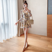 Dress Spring 2021 S M L XL Short skirt singleton  Long sleeves Sweet V-neck High waist Broken flowers Socket Ruffle Skirt bishop sleeve Others 18-24 years old Type X A concubine 2030-1 More than 95% Chiffon other Other 100% princess Pure e-commerce (online only)
