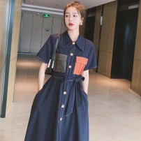 Dress Summer 2021 Picture color S M L XL longuette singleton  Short sleeve commute Polo collar High waist Solid color Single breasted A-line skirt routine 18-24 years old Type A Shinos Retro Pocket lace up button contrast More than 95% polyester fiber Polyester 100%