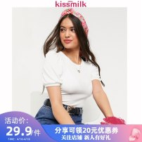 Women's large Spring 2020 White black US14 US16 US18 US20 US22 T-shirt singleton  commute Self cultivation moderate Socket Short sleeve Solid color Simplicity Crew neck have cash less than that is registered in the accounts polyester puff sleeve KM12T30K51 kiss milk 18-24 years old
