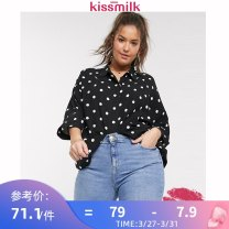 Women's large Spring 2020 black US14 US16 US18 US20 US22 T-shirt singleton  commute easy moderate Socket elbow sleeve Dot Simplicity V-neck routine Silk and satin routine KM25T30K17 kiss milk 18-24 years old Polyethylene terephthalate (polyester) 100% Pure e-commerce (online only)