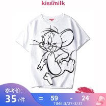 Women's large Summer 2020 white US14 US16 US18 US20 US22 T-shirt singleton  commute easy moderate Socket Short sleeve Cartoon animation Simplicity Crew neck routine cotton routine KM12T41K77 kiss milk 18-24 years old 96% and above Cotton 100% Pure e-commerce (online only)