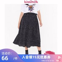 Women's large Summer 2020 black US14 US16 US18 US20 US22 skirt singleton  commute thin Dot Simplicity polyester fiber kiss milk 18-24 years old 96% and above longuette Polyethylene terephthalate (polyester) 100% Pure e-commerce (online only) Pleated skirt