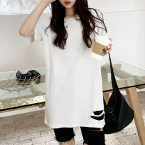 T-shirt white S M L XL 2XL Spring 2021 Long sleeves Crew neck easy Medium length routine commute cotton 86% (inclusive) -95% (inclusive) 25-29 years old originality Solid color Shurzzeln / Xia Zhen hole Cotton 95% polyurethane elastic fiber (spandex) 5%