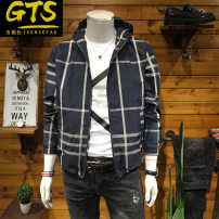 Jacket Gutushi Youth fashion Dark blue check Beige check M L XL 2XL 3XL 4XL 5XL routine Self cultivation Other leisure autumn GTS201990609 Polyester 100% Long sleeves Hood tide youth routine Zipper placket Straight hem washing Closing sleeve Autumn of 2019 Pure e-commerce (online only)