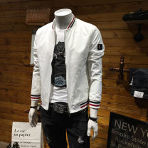 Jacket Gutushi Youth fashion White black M L XL 2XL 3XL 4XL 5XL 6XL thin Self cultivation Other leisure autumn Polyester 100% Long sleeves Wear out Baseball collar tide routine Zipper placket Rib hem No iron treatment Closing sleeve stripe Spring of 2018 Epaulet Side seam pocket other