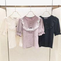 T-shirt Lotus color with less bows off white with less bows off white lotus color Average size Autumn of 2018 Short sleeve Crew neck Self cultivation