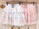skirt Winter 2017 Average size Off white marked non returnable pink marked non returnable pink off white Short skirt Sweet High waist Ruffle Skirt
