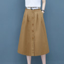 skirt Summer 2020 S/26 M/27 L/28 XL/29 XXL/30 Khaki Skirt army green skirt black skirt white short sleeve T-shirt Khaki Skirt + Short Sleeve T-Shirt army green skirt + Short Sleeve T-Shirt black skirt + Short Sleeve T-Shirt Mid length dress Versatile High waist A-line skirt Solid color Type A cotton