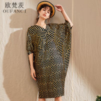 Dress Summer 2020 Off white black Average size longuette singleton  elbow sleeve commute V-neck Loose waist stripe Socket Bat sleeve 30-34 years old Oufanz Pleated printing OFC6245 More than 95% polyester fiber Polyester 100% Pure e-commerce (online only)