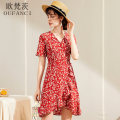 Dress Summer 2021 Red blue S M L XL Short skirt singleton  Short sleeve commute V-neck High waist Broken flowers other A-line skirt routine Breast wrapping 25-29 years old Type A Oufanz Asymmetric printing with lace OFC6329 More than 95% Crepe de Chine silk Mulberry silk 100%