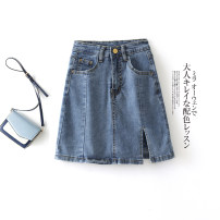 skirt Summer 2021 XS,S,M,L Short skirt Versatile High waist A-line skirt Solid color Type A 18-24 years old 71% (inclusive) - 80% (inclusive) Denim cotton Button, zipper 201g / m ^ 2 (including) - 250G / m ^ 2 (including)