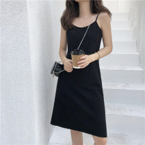 Dress Summer 2020 Average size Short skirt singleton  Sleeveless commute V-neck High waist Solid color Socket A-line skirt other camisole 18-24 years old Type A Korean version 31% (inclusive) - 50% (inclusive) knitting polyester fiber