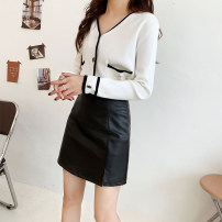 skirt Spring 2021 XXS,XS,S,M black Short skirt Versatile High waist skirt Solid color Type A 18-24 years old 71% (inclusive) - 80% (inclusive) other PU zipper 201g / m ^ 2 (including) - 250G / m ^ 2 (including)