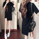 Dress Summer of 2018 Black and white S M L XL Mid length dress singleton  Short sleeve commute Crew neck High waist letter Socket A-line skirt routine Others 18-24 years old Type A Favron Korean version Lace up asymmetric printing More than 95% brocade cotton Pure e-commerce (online only)