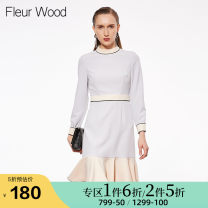 Dress Spring of 2019 Gray blue S M L XL Short skirt singleton  Long sleeves street stand collar middle-waisted other Socket Ruffle Skirt routine Others 25-29 years old FLEUR WOOD Ruffle stitching 81% (inclusive) - 90% (inclusive) polyester fiber Pure e-commerce (online only) Europe and America