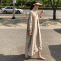 Dress Summer 2020 Flax Pink S M L XL longuette singleton  Long sleeves commute V-neck Loose waist Solid color Socket A-line skirt routine 25-29 years old Enchantment of imperial concubines Korean version Pleated pocket button F113 31% (inclusive) - 50% (inclusive) cotton Cotton 50% LINEN 50%