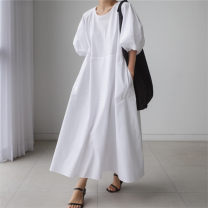 Dress Summer 2020 White green black S M L XL longuette singleton  Short sleeve commute Crew neck Loose waist Solid color Socket A-line skirt routine 25-29 years old Enchantment of imperial concubines Korean version F159 More than 95% cotton Cotton 100% Pure e-commerce (online only)