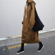 Sweater / sweater Winter 2020 Brown gray dark red S M L XL Long sleeves have more cash than can be accounted for Socket singleton  Plush Hood easy commute routine Solid color 25-29 years old 96% and above Enchantment of imperial concubines Korean version cotton F304 Pocket lace up thread Cotton 100%