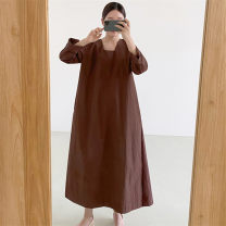 Dress Summer 2021 Brown Black S M L XL longuette singleton  Long sleeves commute Crew neck Loose waist Solid color Socket A-line skirt routine 25-29 years old Type A Enchantment of imperial concubines Korean version pocket U28 More than 95% cotton Cotton 100% Pure e-commerce (online only)