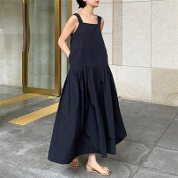 Dress Summer 2020 black S M L XL longuette singleton  Sleeveless commute One word collar High waist Solid color Socket A-line skirt routine camisole 25-29 years old Type A Enchantment of imperial concubines Korean version Open back pocket with elastic waist U63 More than 95% cotton Cotton 100%