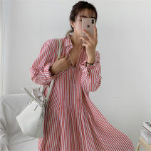 Dress Summer 2020 Red Stripe Black Stripe S M L XL longuette singleton  Long sleeves commute Polo collar Loose waist stripe Single breasted A-line skirt routine 18-24 years old Enchantment of imperial concubines Korean version Button F66 31% (inclusive) - 50% (inclusive) cotton Cotton 50% LINEN 50%
