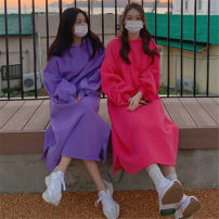 Sweater / sweater Winter 2020 Purple Pink Black Grey S M L XL Long sleeves Medium length Socket singleton  Plush Hood easy commute routine Solid color 18-24 years old 96% and above Enchantment of imperial concubines Korean version cotton F311 Frenulum Cotton liner Cotton 100%