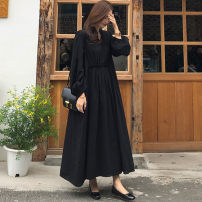 Dress Summer of 2019 Black and white S M L XL longuette singleton  Long sleeves commute V-neck Loose waist Solid color Socket Ruffle Skirt bishop sleeve 25-29 years old Enchantment of imperial concubines Korean version Ruffle button Y312 More than 95% cotton Cotton 100% Pure e-commerce (online only)
