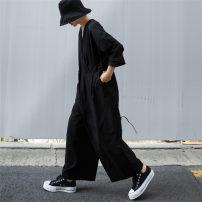Casual pants black S M L XL Autumn 2020 Ninth pants Wide leg pants Natural waist commute routine F196 Enchantment of imperial concubines cotton Korean version pocket Cotton 100% Pure e-commerce (online only)