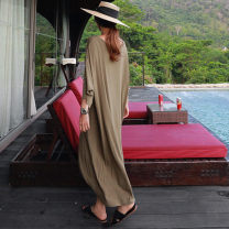 Dress Summer of 2019 Army green black grey S M L XL Mid length dress singleton  three quarter sleeve commute Crew neck Loose waist Socket A-line skirt Bat sleeve 25-29 years old Enchantment of imperial concubines Korean version Y335 More than 95% cotton Cotton 100% Pure e-commerce (online only)