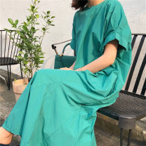 Dress Summer 2020 S M L XL longuette singleton  Short sleeve commute Crew neck Loose waist Solid color Socket A-line skirt Lotus leaf sleeve 25-29 years old Enchantment of imperial concubines Korean version pocket F104 More than 95% cotton Cotton 100% Pure e-commerce (online only)