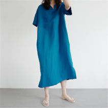 Dress Summer 2020 blue S M L XL longuette singleton  Short sleeve commute Crew neck Loose waist Solid color Socket A-line skirt 25-29 years old Enchantment of imperial concubines Korean version Pleated pocket F115 31% (inclusive) - 50% (inclusive) cotton Cotton 50% LINEN 50%