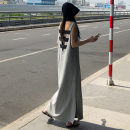 Dress Summer of 2018 grey S M L XL longuette singleton  Sleeveless commute Crew neck Loose waist Solid color Socket A-line skirt routine 25-29 years old Enchantment of imperial concubines Korean version FA184 More than 95% cotton Cotton 100% Pure e-commerce (online only)
